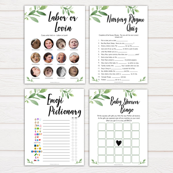 7 botanical printable baby shower games, printable baby shower games, fun baby shower games, popular baby games