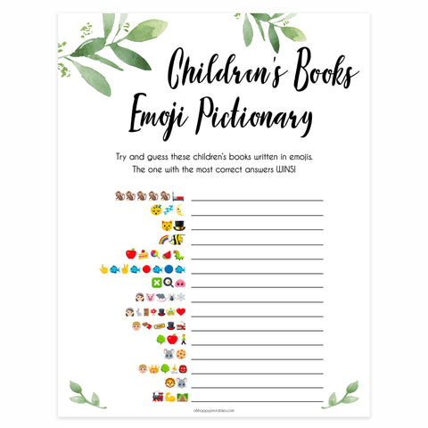 image 0 image 1 image 2 image 3 image 4 image 5 image 6 Botanical Childrens Books Emoji Pictionary, Childrens Book Emoji Game, Green Baby Shower Emoji Pictionary, Baby Games, Baby Shower Emoji, fin baby shower games, printable baby shower games