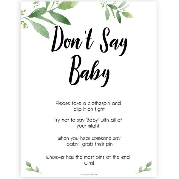 Botanical Don't Say Baby, Don't Say Baby Sign, Greenery Don't Say Baby Game, Baby Shower Games, Green Dont Say Game, Greenery Baby Shower