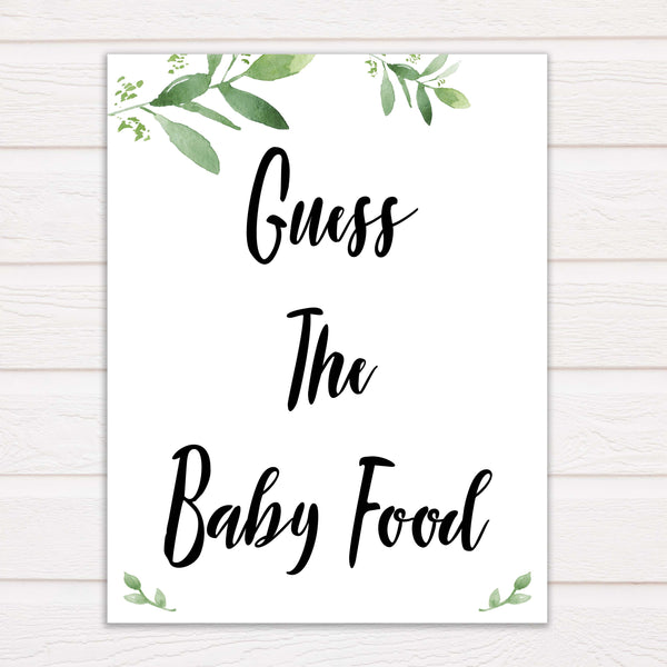 Botanical Baby Shower Guess The Baby Food, Eucalyptus Baby Shower Guess The Baby Food, Botanical Baby Shower Games, Guess The Baby Food, amazing baby shower games, best baby shower games