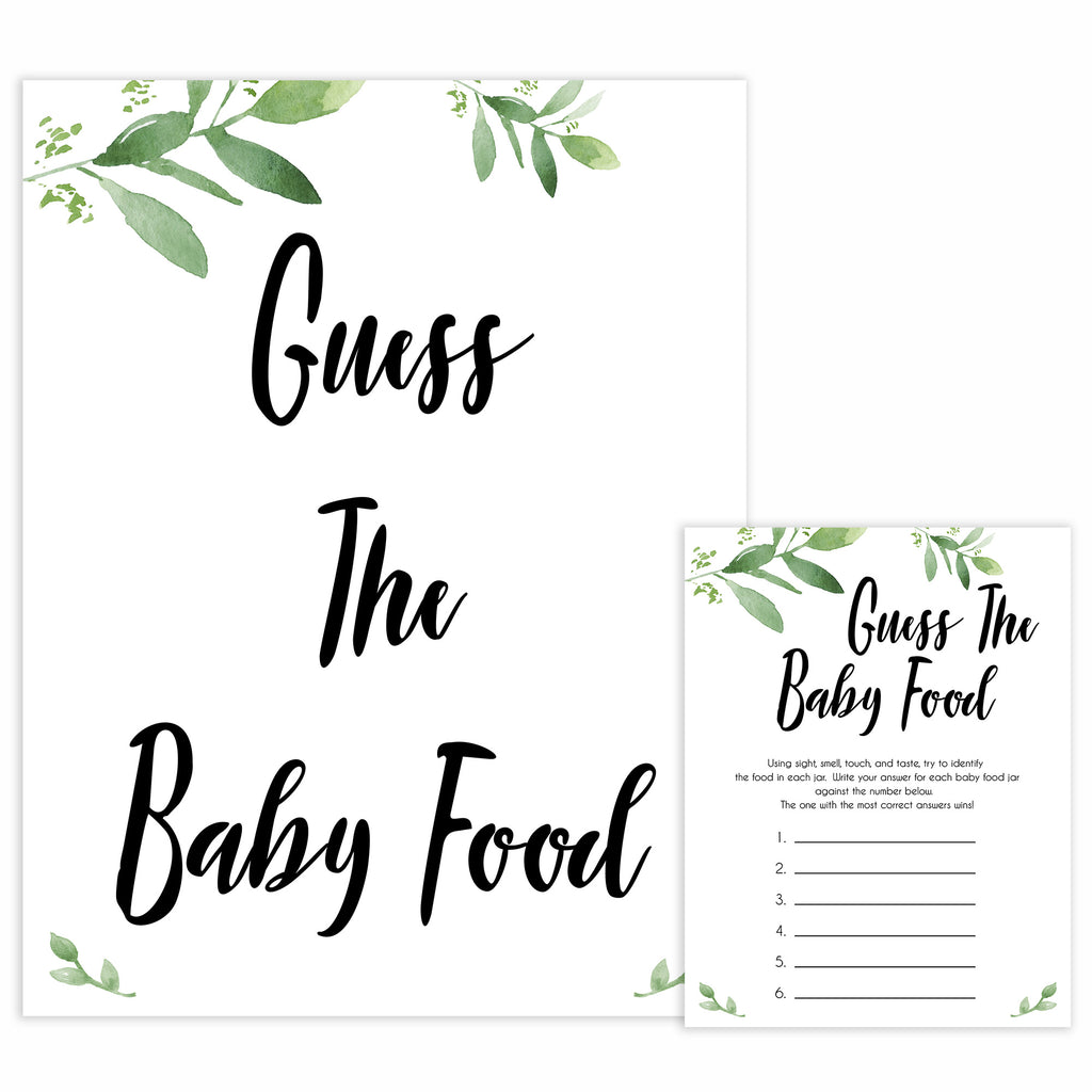 Guess The Baby Food Game Gold Confetti Baby Shower Games