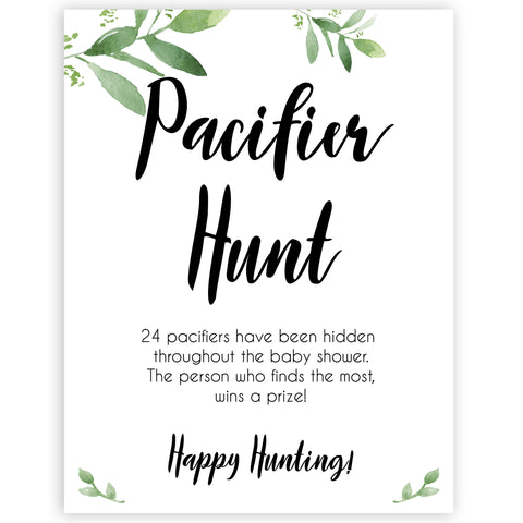 pacifier hunt game, Printable baby shower games, botanical baby shower games, floral baby shower ideas, fun baby shower ideas