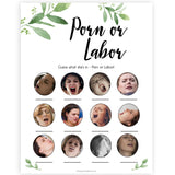 Botanical Porn or Labour Game, Labor or Porn Baby Shower Game, Porn or Labor, Labour or Lovin Baby Shower Game, Baby, Porn or Labor Game, sex face baby games, funny baby shower games