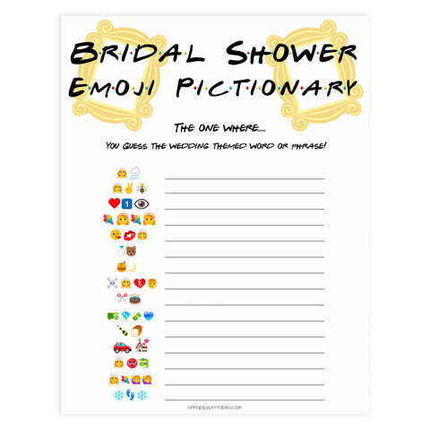 bridal emoji pictionary game, Printable bridal shower games, friends bridal shower, friends bridal shower games, fun bridal shower games, bridal shower game ideas, friends bridal shower