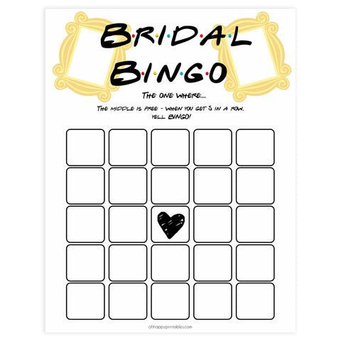 bridal bingo game, Printable bridal shower games, friends bridal shower, friends bridal shower games, fun bridal shower games, bridal shower game ideas, friends bridal shower