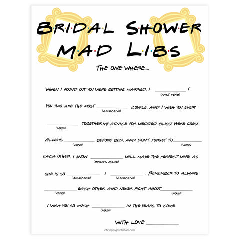 bridal madlibs mad libs game, Printable bridal shower games, friends bridal shower, friends bridal shower games, fun bridal shower games, bridal shower game ideas, friends bridal shower