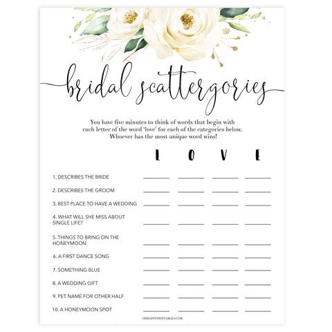 bridal shower scattergories game, Printable bridal shower games, floral bridal shower, floral bridal shower games, fun bridal shower games, bridal shower game ideas, floral bridal shower