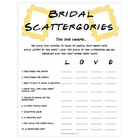 bridal scattergories, Printable bridal shower games, friends bridal shower, friends bridal shower games, fun bridal shower games, bridal shower game ideas, friends bridal shower