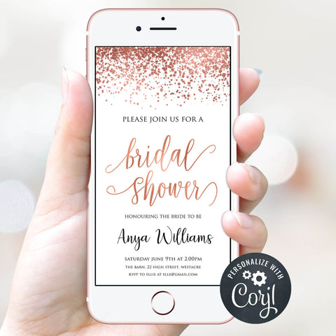 Digital Bridal Shower Invitation Template - Rose Gold Foil