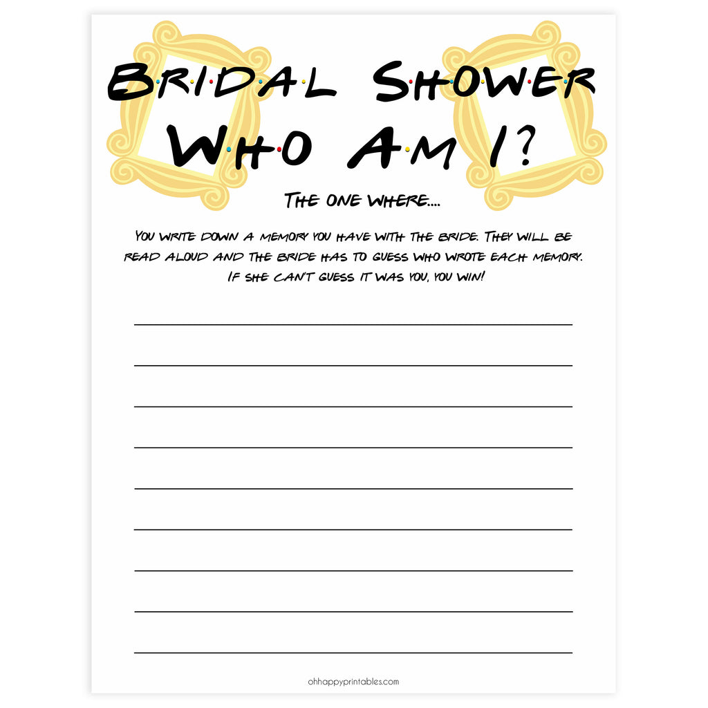 Who Am I Bridal Shower Game Printable Friends Bridal Games Ohhappyprintables