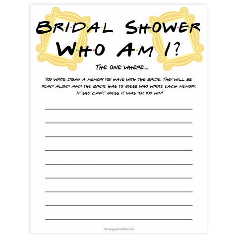 who am i bridal game, Printable bridal shower games, friends bridal shower, friends bridal shower games, fun bridal shower games, bridal shower game ideas, friends bridal shower