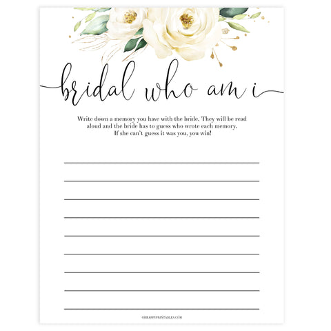 who am I guessing game, Printable bridal shower games, floral bridal shower, floral bridal shower games, fun bridal shower games, bridal shower game ideas, floral bridal shower