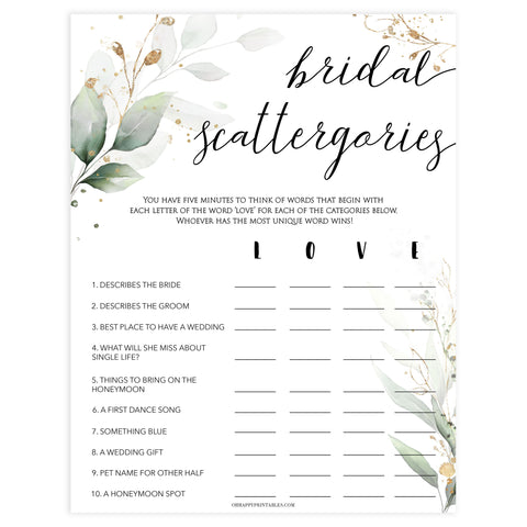 bridal scattergories, Printable bridal shower games, greenery bridal shower, gold leaf bridal shower games, fun bridal shower games, bridal shower game ideas, greenery bridal shower
