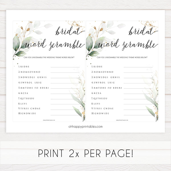 Bridal Word Scramble - Gold Leaf