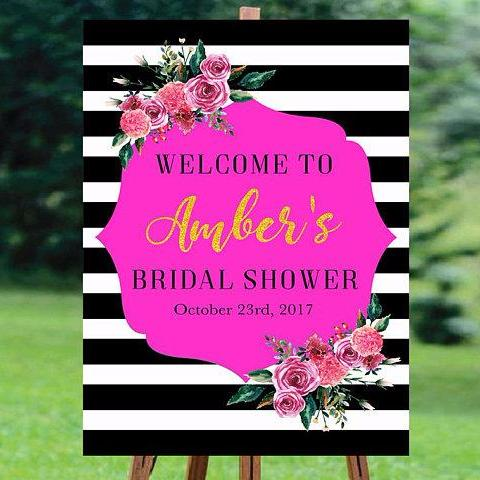 Black and white striped bridal shower welcome sign