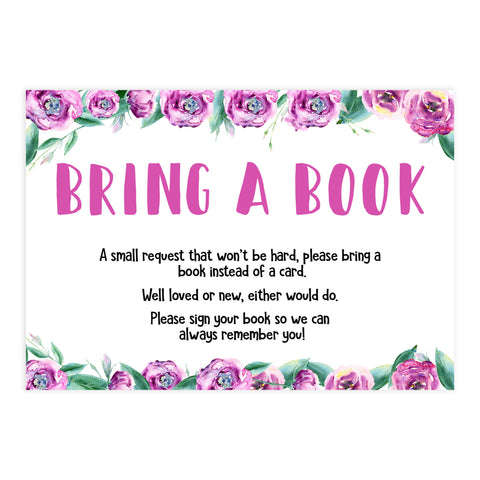 bring a book, books for baby, printable baby shower games, purple peonies baby shower games, fun baby shower ideas