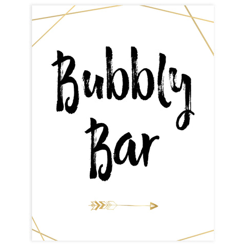 bubbly bar bridal sign, printable bridal shower decor, printable bridal signs, Bubbly bar bride tribe sign