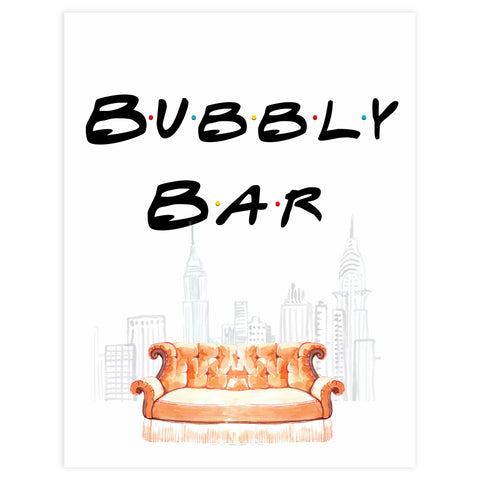 bubbly bar table sign, Printable bridal shower signs, friends bridal shower decor, friends bridal shower decor ideas, fun bridal shower decor, bridal shower game ideas, friends bridal shower ideas