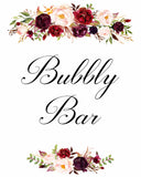 Bubbly Bar Marsala floral white wedding sign