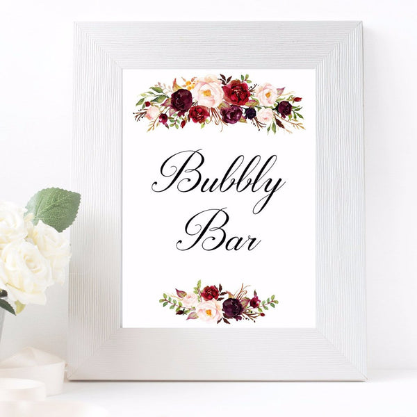 Bubbly Bar Marsala floral white wedding sign printable
