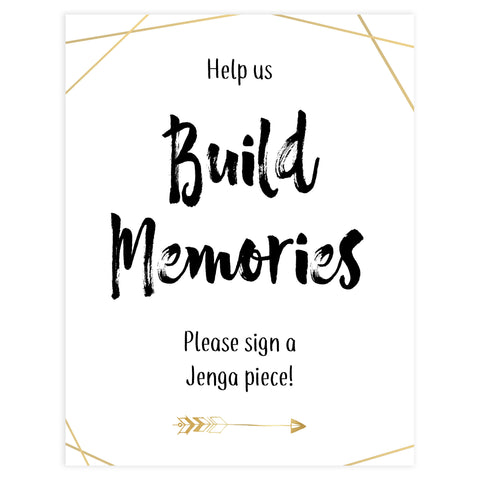build memories bridal sign, sign a jenga piece bridal sign, printable bridal shower decor, printable bridal signs