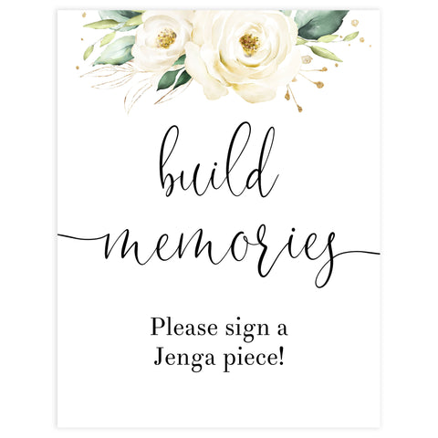build memories printable sign, Printable bridal shower signs, floral bridal shower decor, floral bridal shower decor ideas, fun bridal shower decor, bridal shower game ideas, floral bridal shower ideas