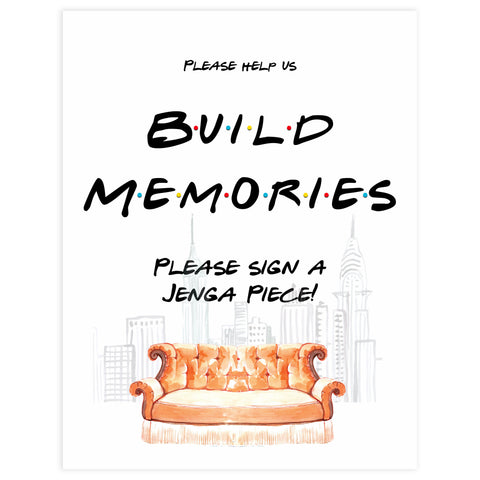 build memories bridal sign, jenga bridal signs, Printable bridal shower signs, friends bridal shower decor, friends bridal shower decor ideas, fun bridal shower decor, bridal shower game ideas, friends bridal shower ideas