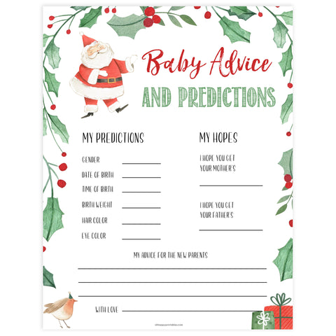 Christmas baby shower games, baby advice and predictions, festive baby shower games, best baby shower games, top 10 baby games, baby shower ideas, baby shower games