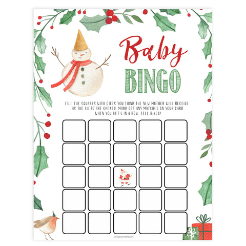 Christmas baby shower games, Baby Shower Bingo festive baby shower games, best baby shower games, top 10 baby games, baby shower ideas, baby shower games
