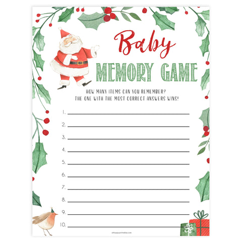 Christmas baby shower games, baby memory game, festive baby shower games, best baby shower games, top 10 baby games, baby shower ideas, baby shower games
