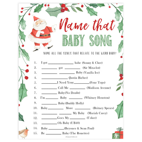 Christmas baby shower games, name that baby song, festive baby shower games, best baby shower games, top 10 baby games, baby shower ideas, baby shower games