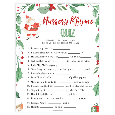 Christmas baby shower games, nursery rhyme quiz, festive baby shower games, best baby shower games, top 10 baby games, baby shower ideas, baby shower games
