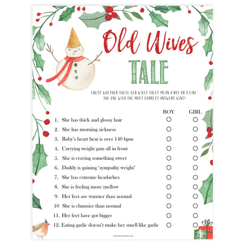 Christmas baby shower games, old wives tale baby game, festive baby shower games, best baby shower games, top 10 baby games, baby shower ideas, baby shower games
