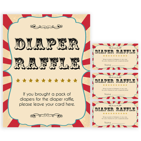 Circus diaper raffle baby shower games, circus baby games, carnival baby games, printable baby games, fun baby games, popular baby games, carnival baby shower, carnival theme