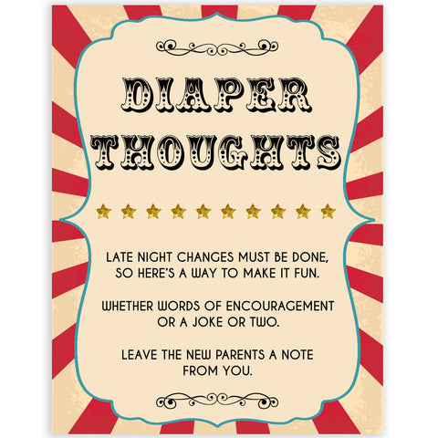 Circus diaper thoughts baby shower games, circus baby games, carnival baby games, printable baby games, fun baby games, popular baby games, carnival baby shower, carnival theme