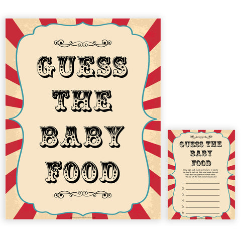 Circus baby guess the baby food baby shower games, circus baby games, carnival baby games, printable baby games, fun baby games, popular baby games, carnival baby shower, carnival theme