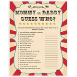 Circus guess who mommy or daddy baby shower games, circus baby games, carnival baby games, printable baby games, fun baby games, popular baby games, carnival baby shower, carnival theme