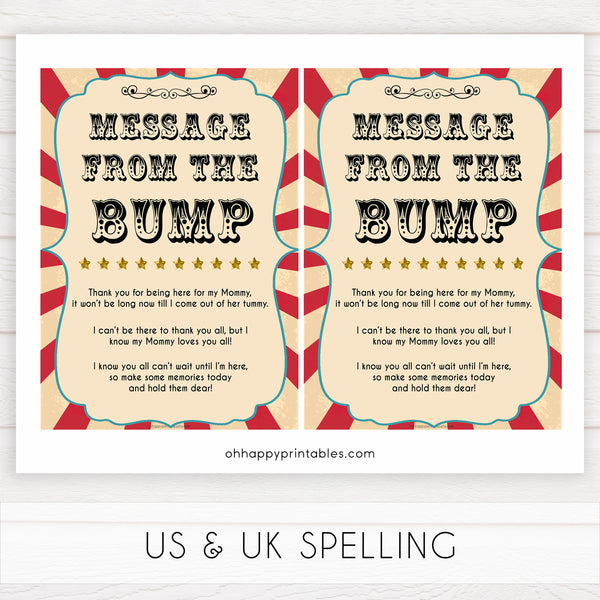 Circus message from the bump baby shower games, circus baby games, carnival baby games, printable baby games, fun baby games, popular baby games, carnival baby shower, carnival theme