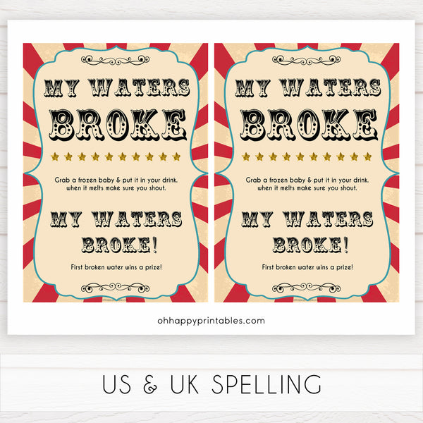 Circus my waters broke baby shower games, circus baby games, carnival baby games, printable baby games, fun baby games, popular baby games, carnival baby shower, carnival theme