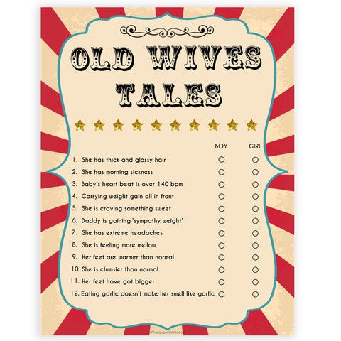old wives tale game, baby old wives tales baby shower game, Printable baby shower games, circus fun baby games, baby shower games, fun baby shower ideas, top baby shower ideas, carnival baby shower, circus baby shower ideas