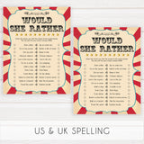 Circus would she rather baby shower games, circus baby games, carnival baby games, printable baby games, fun baby games, popular baby games, carnival baby shower, carnival theme