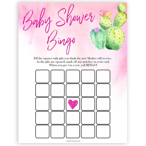 Cactus baby shower games, cactus baby bingo baby game, printable baby games, Mexican baby shower, Mexican baby games, fiesta baby games, popular baby games, printable baby games