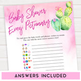 Cactus baby shower games, cactus emoji pictionary baby game, printable baby games, Mexican baby shower, Mexican baby games, fiesta baby games, popular baby games, printable baby games