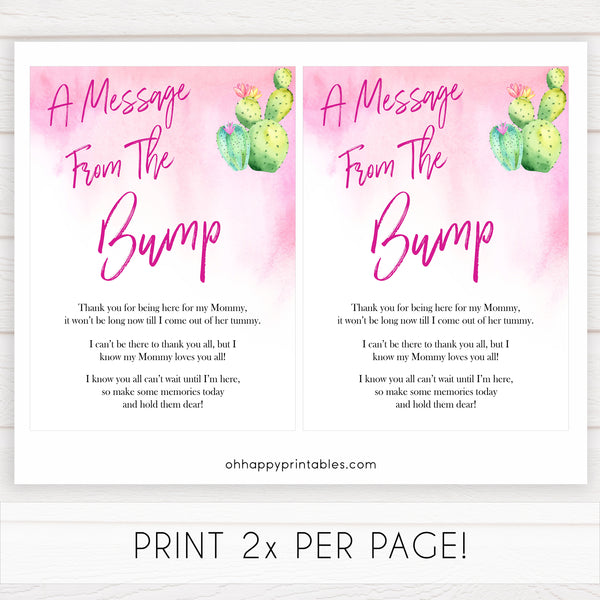 Cactus baby shower games, cactus message from the bump baby game, printable baby games, Mexican baby shower, Mexican baby games, fiesta baby games, popular baby games, printable baby games