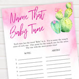 Cactus baby shower games, cactus name that baby tune baby game, printable baby games, Mexican baby shower, Mexican baby games, fiesta baby games, popular baby games, printable baby games