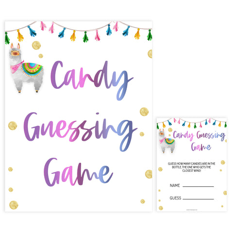 candy guessing game, Printable baby shower games, llama fiesta fun baby games, baby shower games, fun baby shower ideas, top baby shower ideas, Llama fiesta shower baby shower, fiesta baby shower ideas
