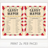 Circus pregnancy candy match baby shower games, circus baby games, carnival baby games, printable baby games, fun baby games, popular baby games, carnival baby shower, carnival theme