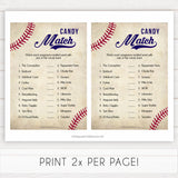 Baseball Pregnancy Candy Match Game, Baseball Baby Shower Games, Candy Match Baby Shower Game, Fun Baby Shower Games, Candy Match, printable baby shower games, fun baby shower games, popular baby shower games