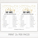 celebrity baby names game, gold celebrity baby names, funny baby shower games, best baby shower games, top baby games