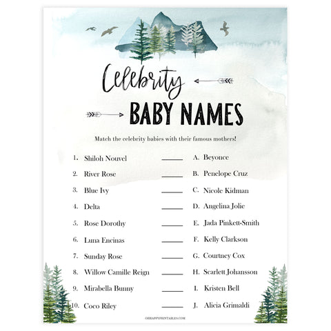 celebrity baby names game, Printable baby shower games, adventure awaits baby games, baby shower games, fun baby shower ideas, top baby shower ideas, adventure awaits baby shower, baby shower games, fun adventure baby shower ideas